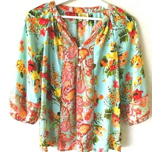 Fig and Flower gypsy blouse floral paisley pattern